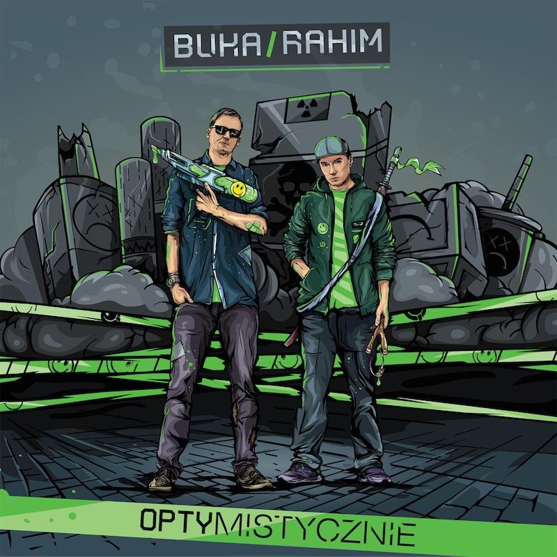 Buka_&_Rahim_-_Optymistycznie_[okladka_plyty]_Projekt_-_Kamil_Sarnowski